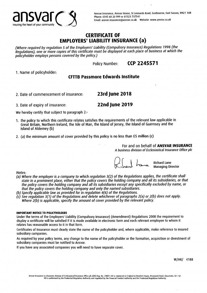 2018/19 Employers' Liability Insurance